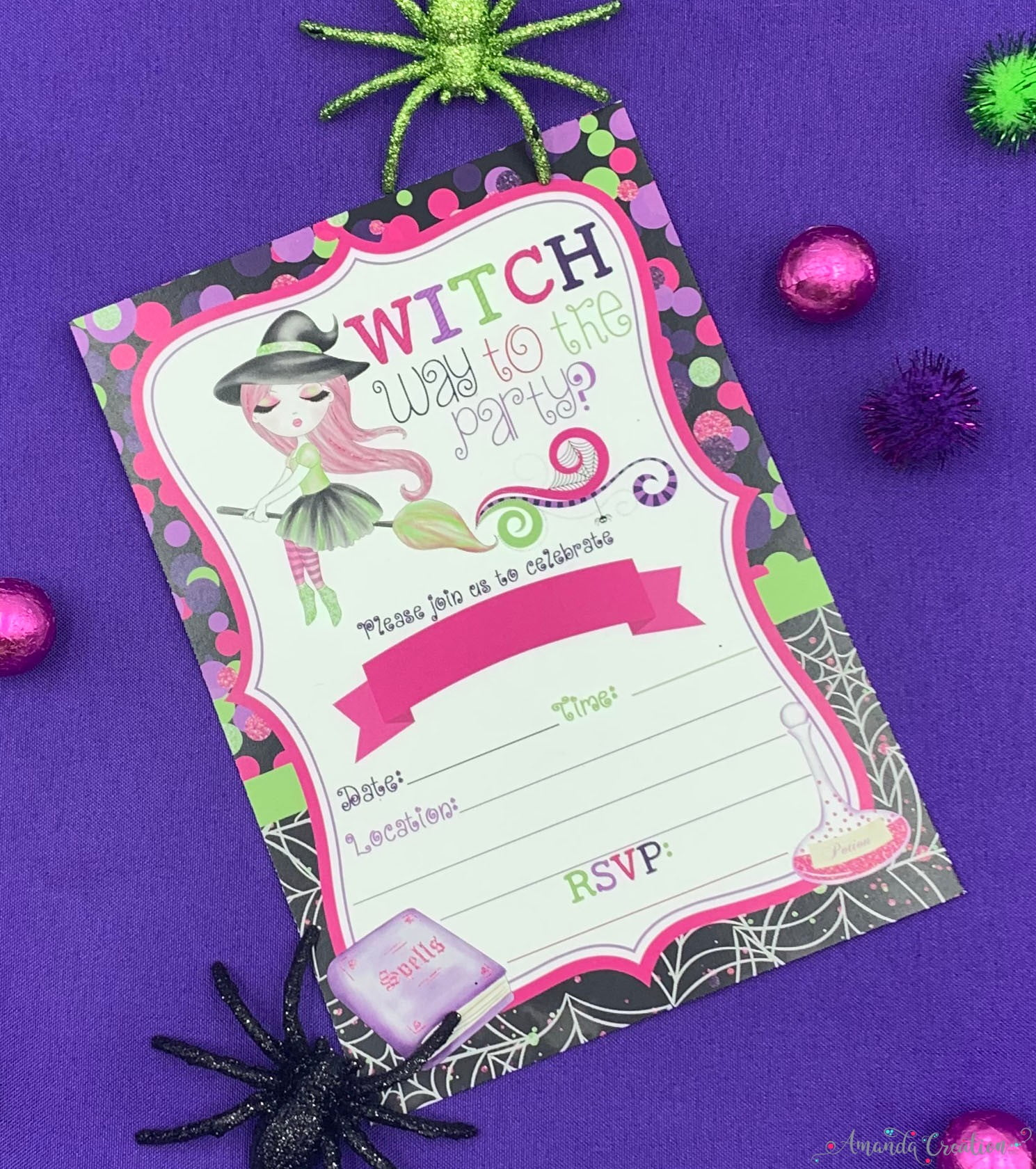 fancy witch party invitation