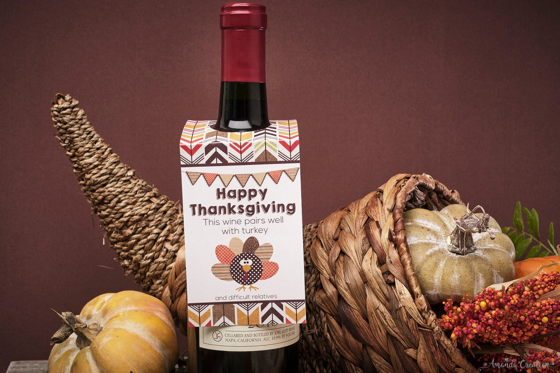 thanksgiving wine bottle tag