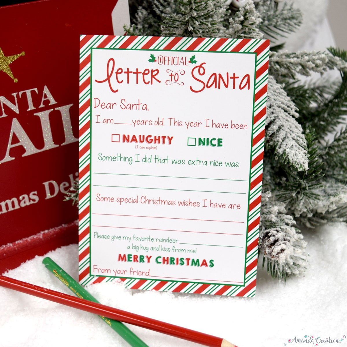 candy cane stripe letter to santa