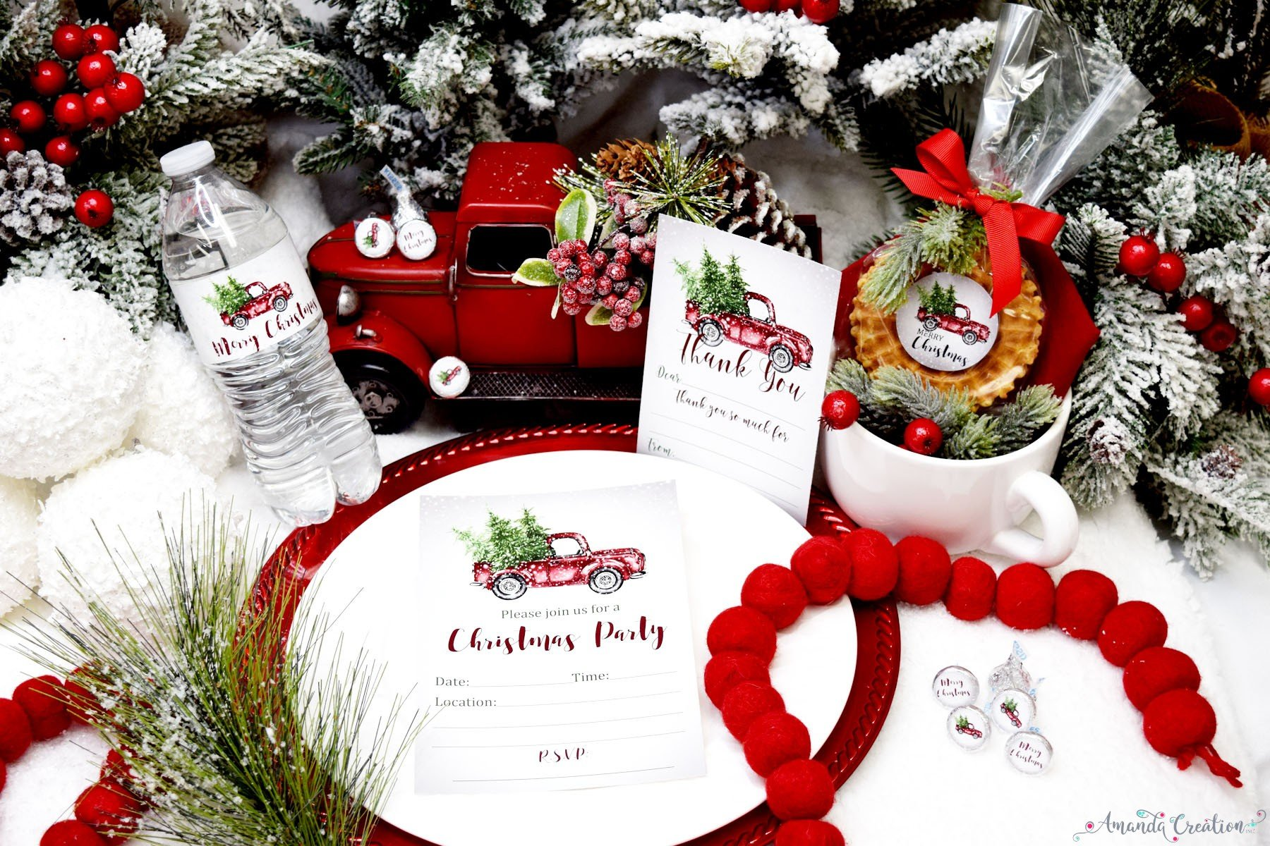 red pickup truck Christmas party supplies