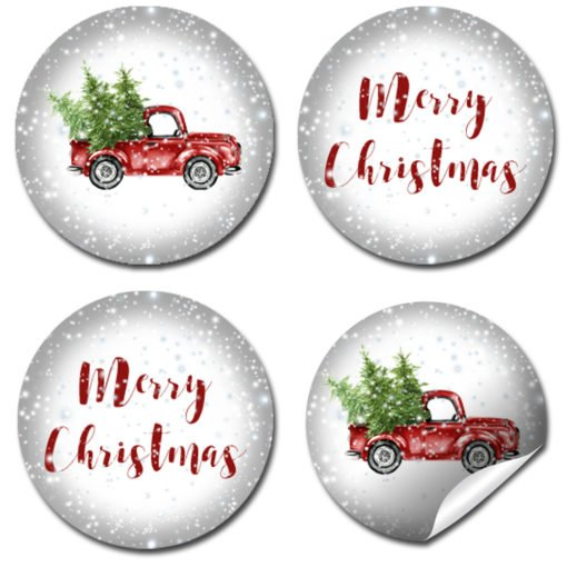 snowy truck christmas kiss stickers