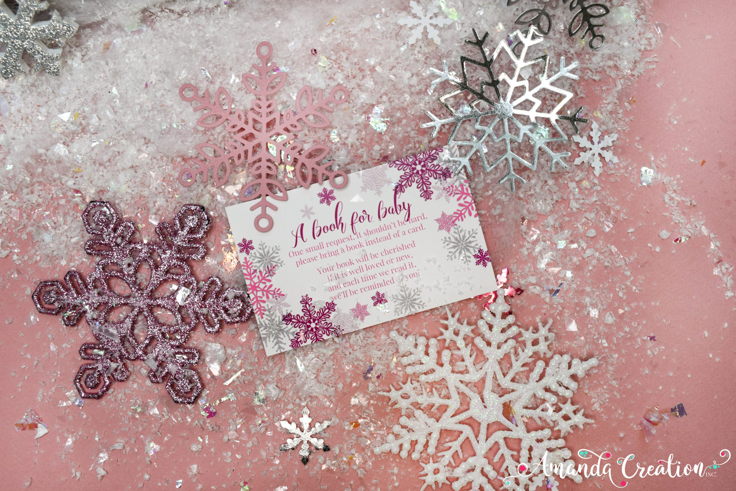 snowflake girl baby shower book card