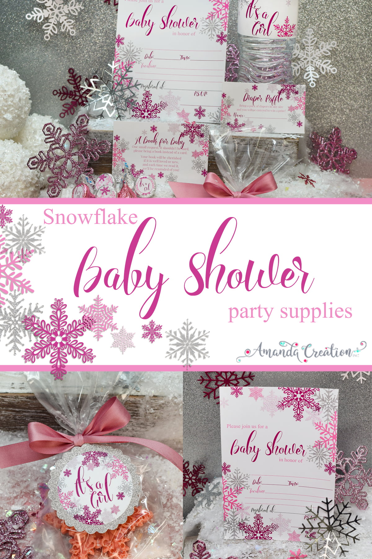 snowflake girl baby shower party supplies