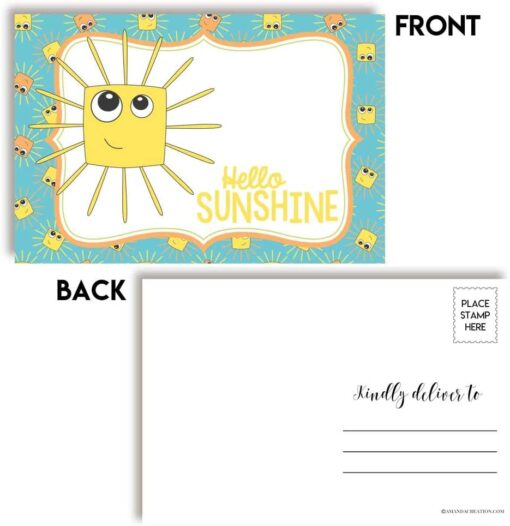 Hello Sunshine Postcards Front and Back