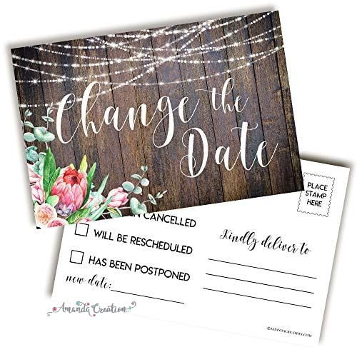 Floral Change the Date Postcard