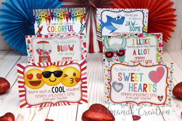 Valentine Teacher Postcards for Students