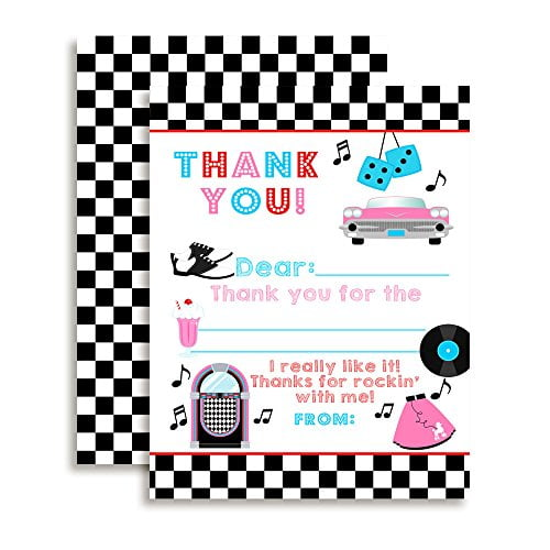 50's Sock Hop Thank You Cards