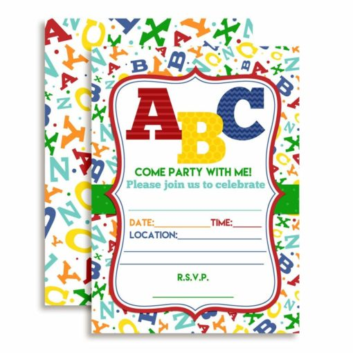 ABC Alphabet Letters & Learning Birthday Party Invitations
