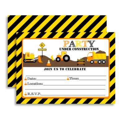 Party Under Construction - Digger, Dump Truck Birthday Party Invitations