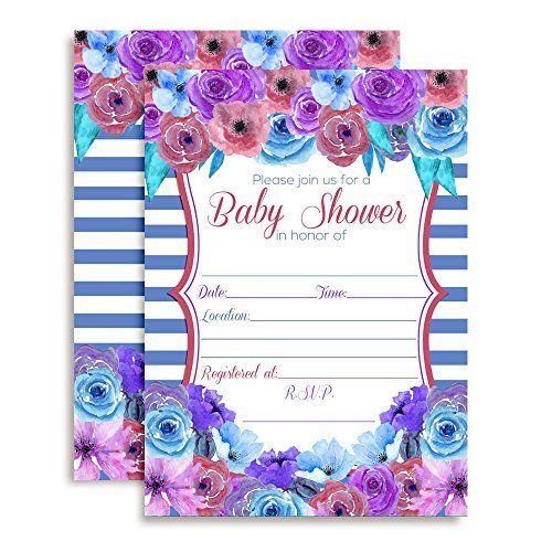 Pink, Purple & Blue Floral Baby Shower Invitations