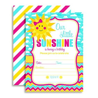 Little Ray of Sunshine Birthday Party Invitations (Girl)