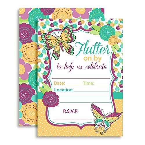 Flutter On By Butterfly Birthday Party Invitations