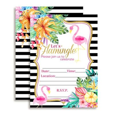 Floral with Black & White Stripes Flamingo Birthday Party Invitations