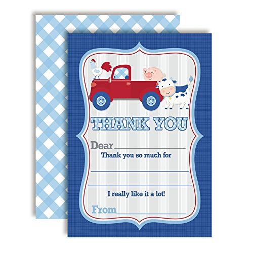 Barnyard Birthday Thank You Cards for Boys