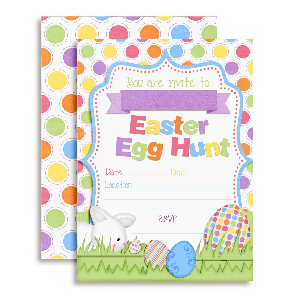 Bunny Hunting Easter Eggs Party Invitations ...