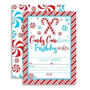 Candy Cane Kisses & Birthday Wishes Christmas Party Invitations