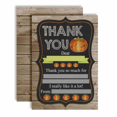 Chalkboard Pumpkin Thank You Cards