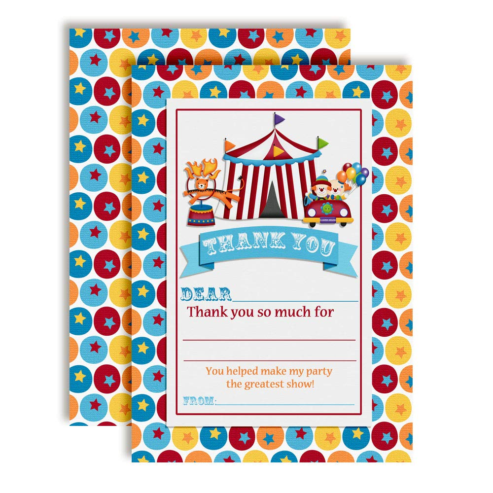 Circus Carnival Birthday Thank You Notes For Kids Ten 4 X 5 5