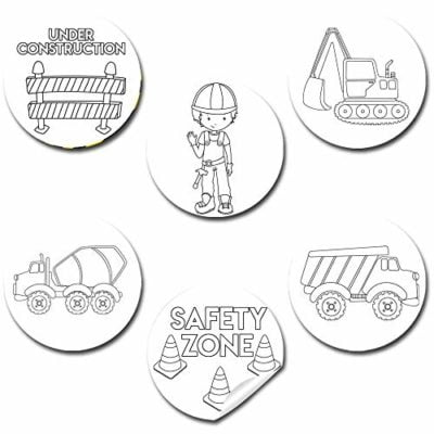 Color Your Own Construction Themed Stickers