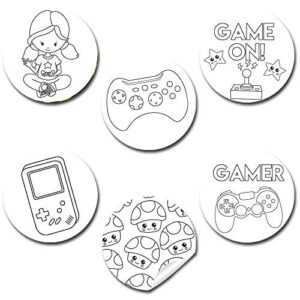 Color Your Own Video Game Themed Stickers (Girl)