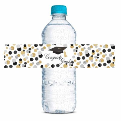 Confetti Polka Dot Graduation Party Water Bottle Labels