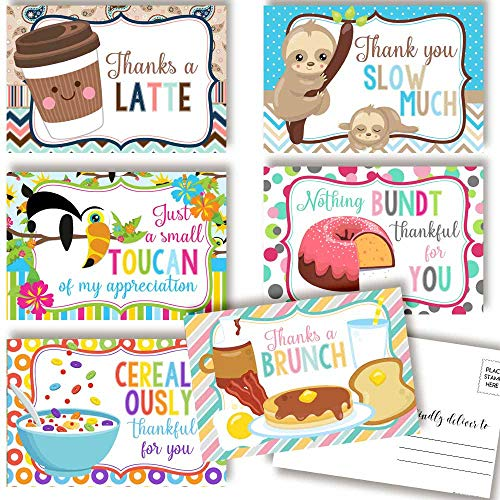 """Cute Animal & Food Related Puns Gratitude, Appreciation Themed Thank You Blank Postcards To Send To Friends, Family, Customers, 4""""x6"""" Fill In Notecards (6 different designs) by AmandaCreation"""