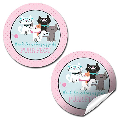Cute Plush Kitten Adoption Stuffed Animal Themed Birthday Thank You Sticker Labels for Kids