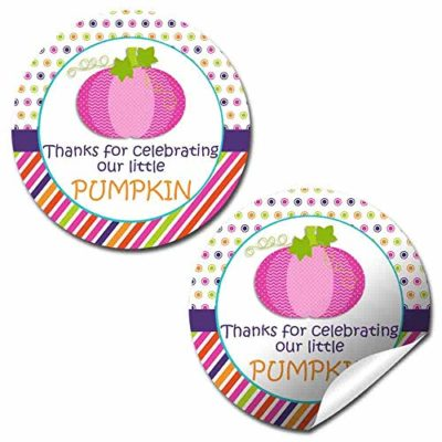 Pink Pumpkin Birthday Party Stickers (Girl)