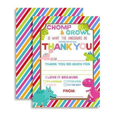 Dinosaur Thank You Cards (Girl)
