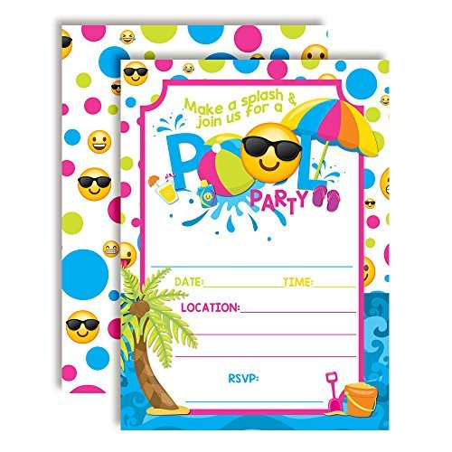 Emoji Pool Party Birthday Party Invitations Girl