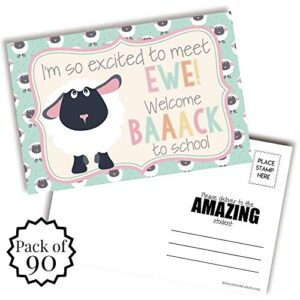 Excited To Meet You (Sheep Themed) Back To School Postcards For Teachers