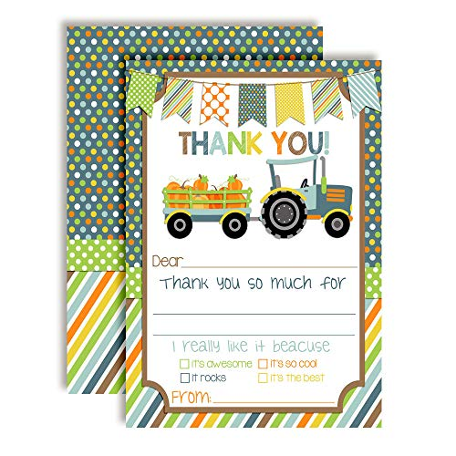 Tractor With Pumpkins Thank You Cards (Boy)