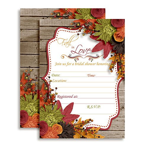 Fall in Love Autumn Leaves Bridal Shower Invitations