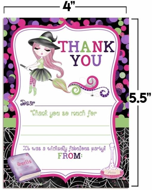 Fancy Halloween Witch Thank You Notes