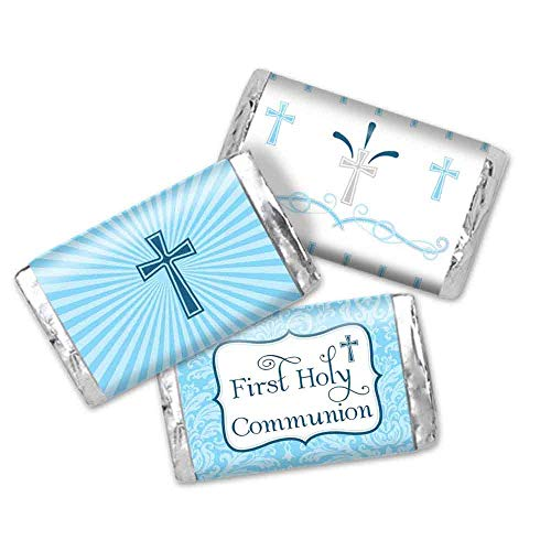 First Holy Communion Mini Chocolate Candy Bar Sticker Wrappers for Boys