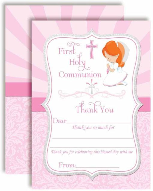 First Holy Communion Religious Thank You Notes for Girls (Light Skin, Red Hair)