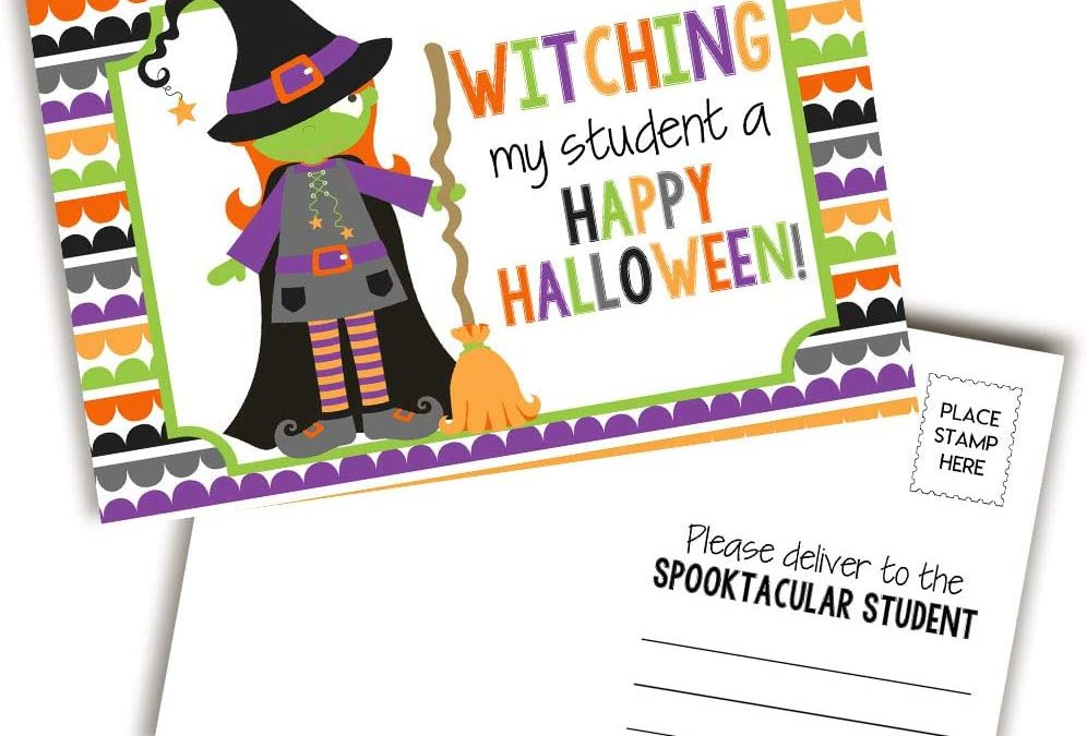 """Funny Wishing You A Happy Halloween Witch Themed Blank Postcards For Teachers To Send To Students, 4""""x6"""" Fill In Notecards by AmandaCreation"""
