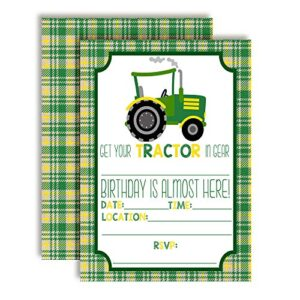 Green & Yellow Tractor Birthday Party Invitations