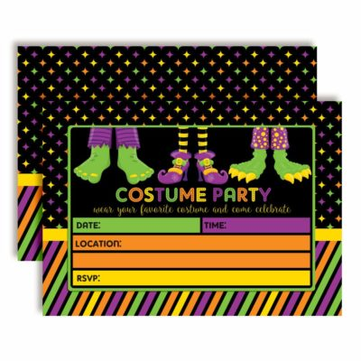 Halloween Costume Party Invitations with Monster Feet