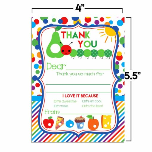 Happy Hungry Caterpillar Thank You Notes