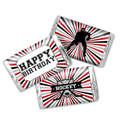 Hockey Themed Themed Birthday Party Mini Chocolate Candy Bar Sticker Wrappers for Kids
