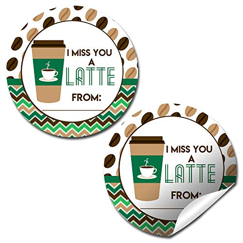I Miss You A Latte Coffee Themed Sticker Labels