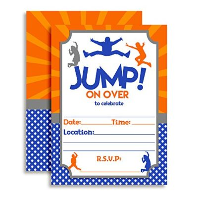 Jump Zone Trampoline Park Birthday Party Invitations