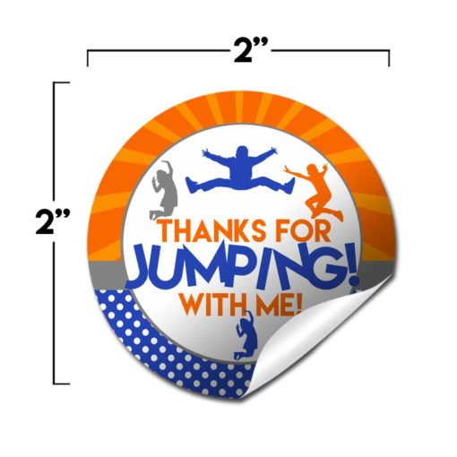Jump Zone Trampoline Park Birthday Party Stickers