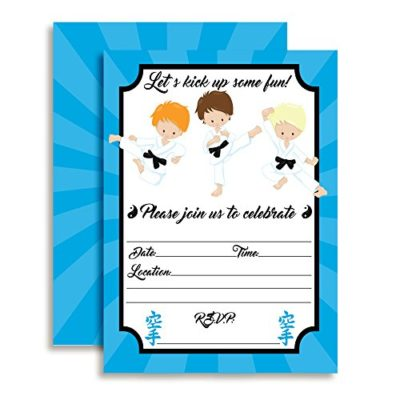 Karate, Tae Kwon Do, Martial Arts Birthday Party Invitations