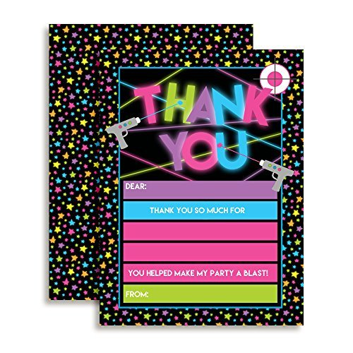 Laser Tag Thank You Cards (Girl)