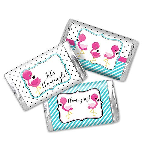 Let's Flamingle Pink & Turquoise Flamingo Themed Party Mini Chocolate Candy Bar Sticker Wrappers