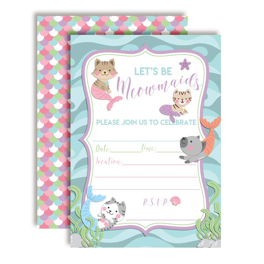 Lets Be Meowmaids Mermaid Kitty Cat Birthday Party Invitations For Girls 20 5x7 Fill In Cards With Twenty White Envelopes By AmandaCreation