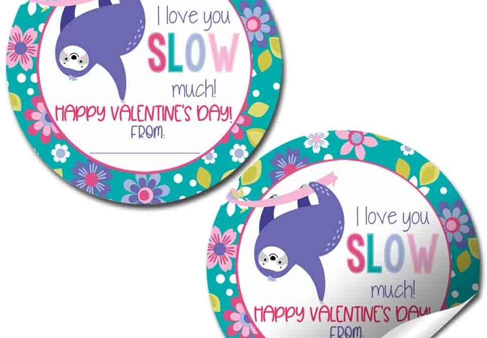 Like You So Much Sloth Valentine Stickers