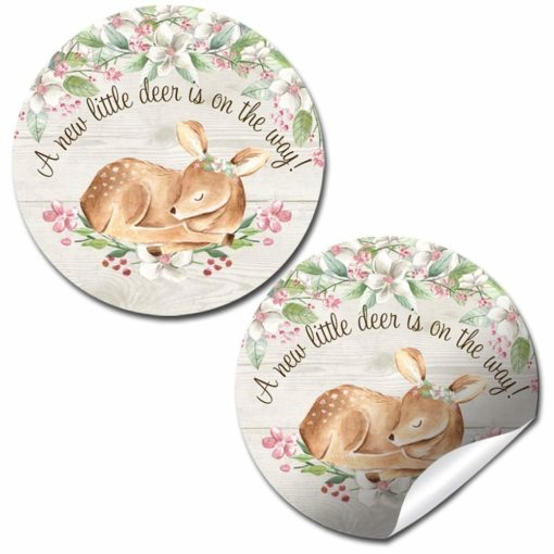 Little Deer Woodland Baby Shower Stickers (Girl)